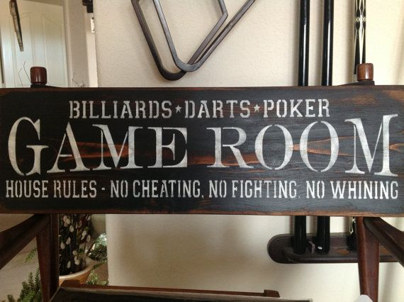 Game Room- billiards, darts, poker , house rules- no cheating, no fighting, no whining, primitive wood sign, home decor, gift ideas, on Etsy, $35.00
