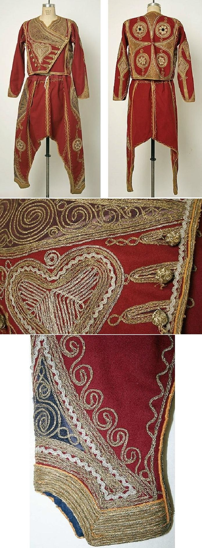 Festive/ceremonial man's ensemble.  From the Balkans.  Late-Ottoman era, end of 19th century. Metal thread embroidery on combed wool.  (Met museum, N.Y.).