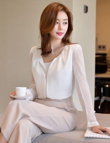Feminine Chiffon Zip Jacket   스타일, 패션 및 모델