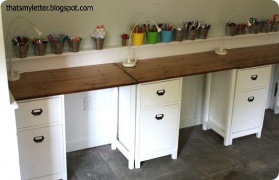 Kids' Work Area with Schoolhouse Desks