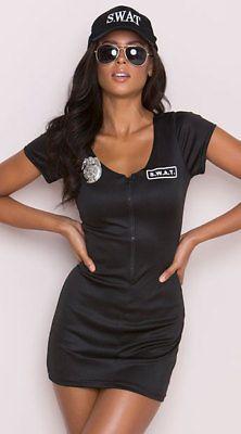 SWAT POLICE COSTUME Dress Black S M L XL SEXY! Zip Front Halloween w/ Hat &Badge