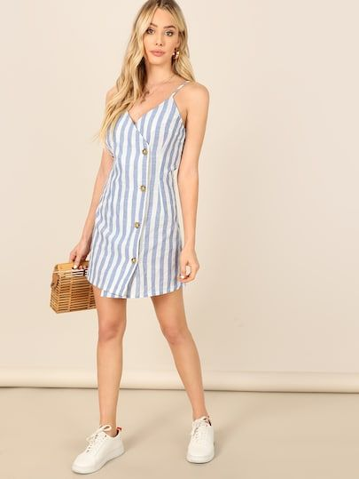 a811ad294ece Single Breasted Wrap Striped Cami Dress [swdress07190107466] - $28.00 :  moonbaye.com