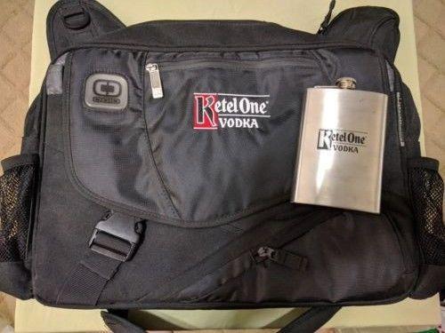 Ketel One computer bag (Ogio) and flask
