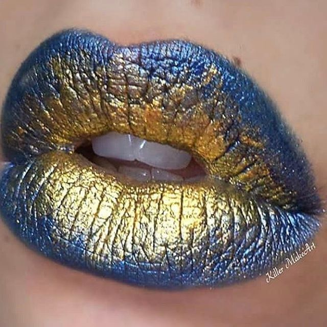 "310 Likes, 6 Comments - PP: @makeup_moi_x (@featuremuas) on Instagram: ""This lip art by @killermakeart is gorgeous!!! The gold and blue go so well together! Beautiful!…"""