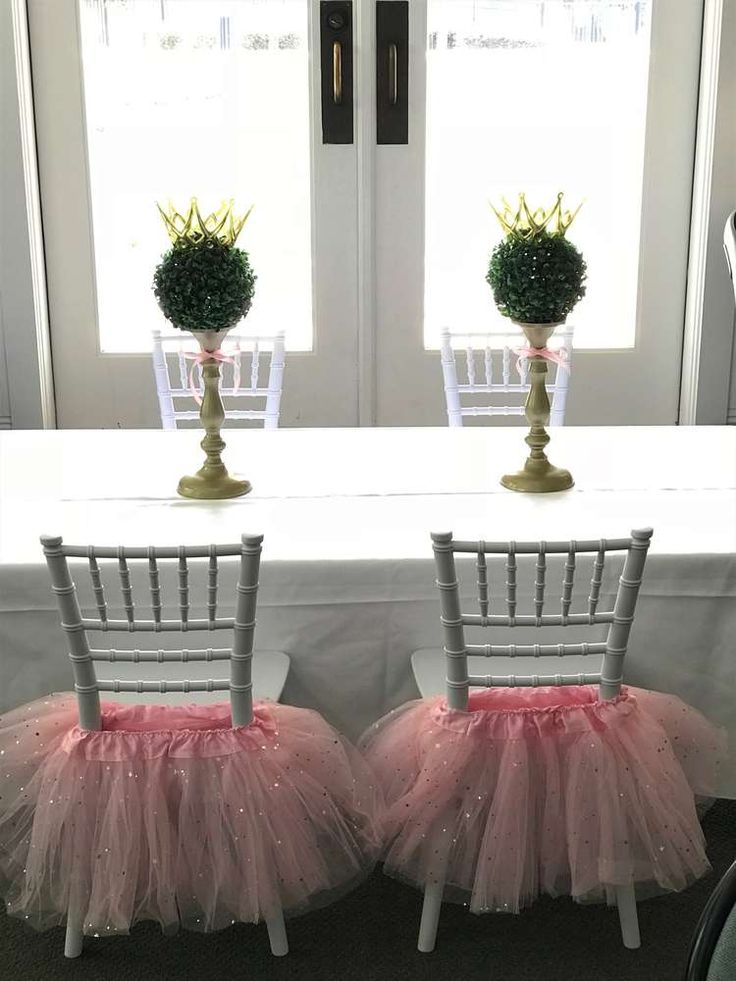 Loving the tutus decorating the chairs at this Pink Princess Birthday Party! See more party ideas and share yours at CatchMyParty.com #tutus #partydecorations