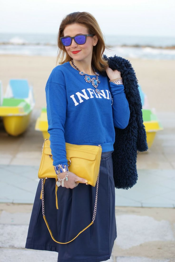 Blue faux fur jacket, Infinity sweatshirt, yellow Rebecca Minkoff M.A.C. clutch, Fashion and Cookies, fashion blogger