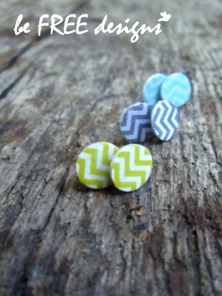 Chevron Earrings  love these colors!!!