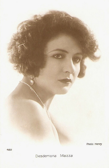 Desdemona Mazza (1901-?). Italian actress who appeared in Italian and French silent films.