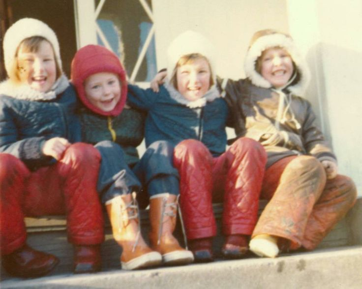 #Reima70 Here I am on the stairs with my best friends. We played together every day while we were young and we are still good friends. I don't know if there is any Reima clothing here, but the picture is certainly very retro! From approx. 1978. -Beate