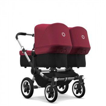 Bugaboo Donkey2 Twin, Alu Chassis, Basisbezüge schwarz, Sonnendächer rubinrot