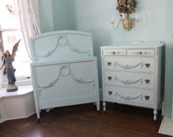 3 Piece Antique Bedroom Set shabby chic by VintageChicFurniture