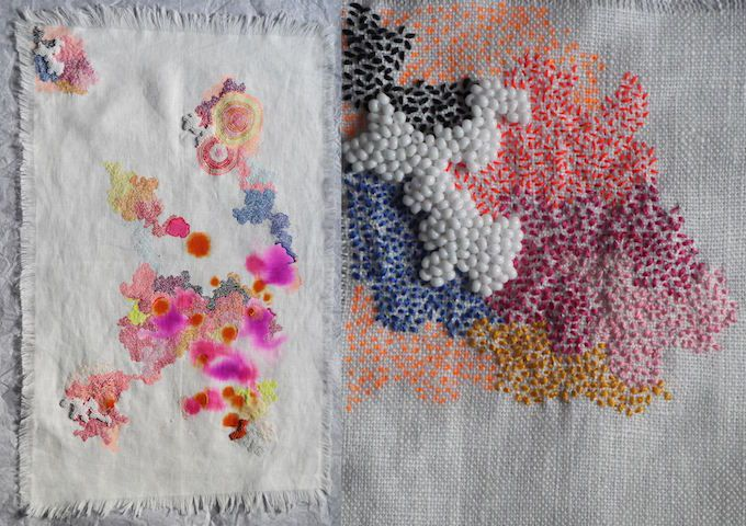 Artist Sabatina Leccia plays with abstract color and threaded marks. The stitches become part of the painting, adding a contemporary spin on embroidery.