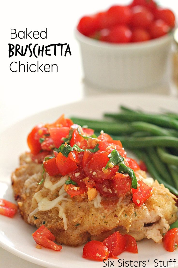 Baked Bruschetta Chicken Recipe SixSistersStuff