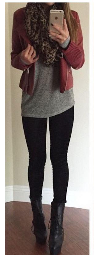 Red moto jacket + leopard scarf + gray tee + black leggings + black booties