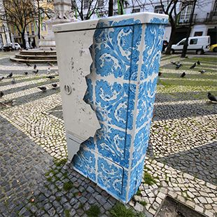 Ceramic Tile Illusion Painted on a Boring Electrical Box in Lisbon.                                            Gloucestershire Resource Centre http://www.grcltd.org/scrapstore/