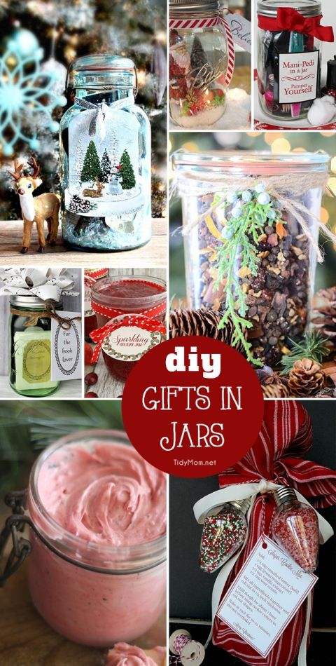 Homemade Christmas | Jars just make superb gifts when you fill them with something thoughtful. DIY GIFTS IN JARS are always fun to give and to receive.......you may want to just keep some for yourself! details at TidyMom.net