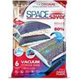 SpaceSaver Premium bolsas para almacenamiento al aspiradora (2x pequeño, 2X mediano, 2X grande) (80% más de almacenamiento que marcas principales) gratuita Bomba de mano para viajes.