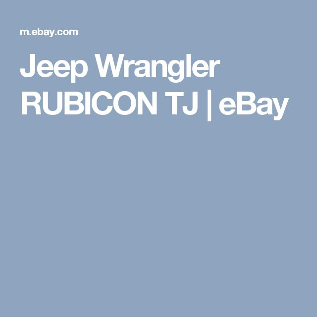 Jeep Wrangler RUBICON TJ | eBay