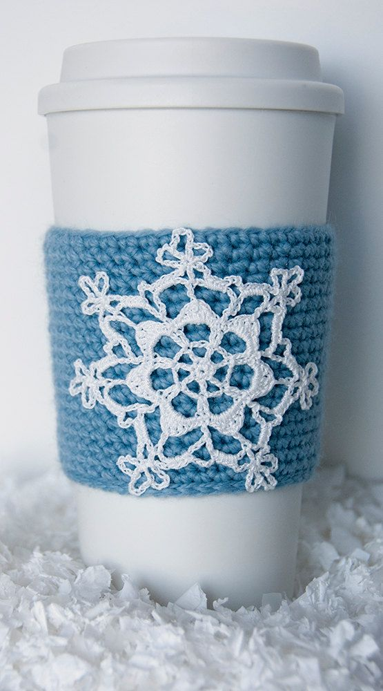 Cup Sleeve, Coffee cozy, crochet appliqued snowflake, christmas, winter, sky blue sleeve, white snowflake, stocking stuffer, cup cozy on Etsy, $20.00