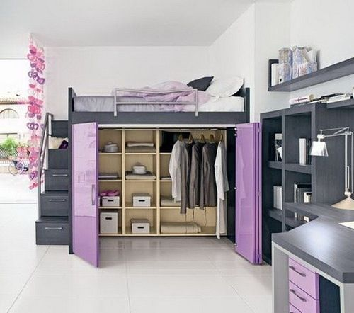 Purple teenage bedroom