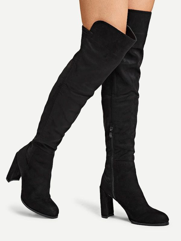 45639fad087 Suede Over The Knee Boots -SheIn(Sheinside)