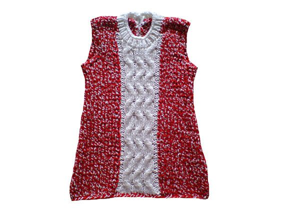 Handmade hand knitted girls' dress in red and white by woolopia, $30.00