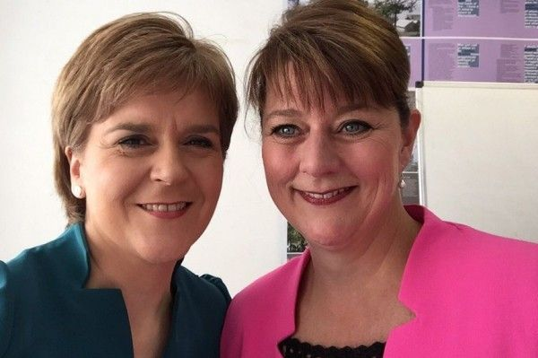 Nicola Sturgeon was speaking to Plaid Cymru members, including leader Leanne Wood, in Aberystwyth at the party's annual conference
