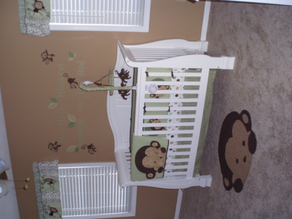 Monkey Nursery, Our little monkeys room. The bedding is Mod Pod Pop Monkey. I love all the green and brown colors. Nurseries Design