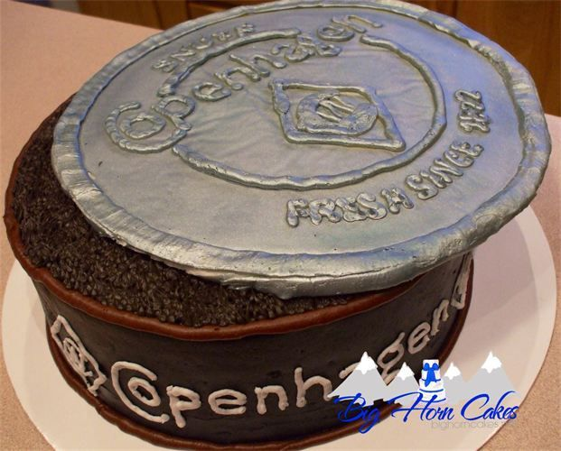 Copenhagen tobacco dip can birthday cake!  Lid is made of chocolate.  #bighorncakes #sheridanwy