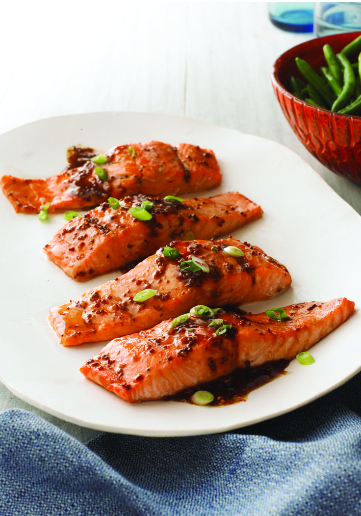 Maple-Balsamic Salmon Fillets – Our fig balsamic dressing is the star in this simple salmon recipe. Or is it the maple syrup? Either way, these Maple-Balsamic Salmon Fillets make a great entrée with a side of steamed rice and fresh green beans.