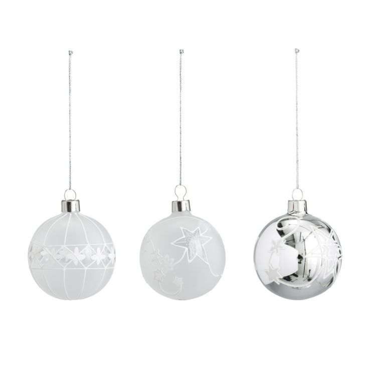 Star Christmas baubles in 3 designs, pack of three