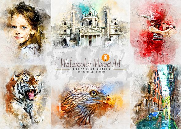 Watercolor 2 Artist Photoshop Action Professional Multifunctional