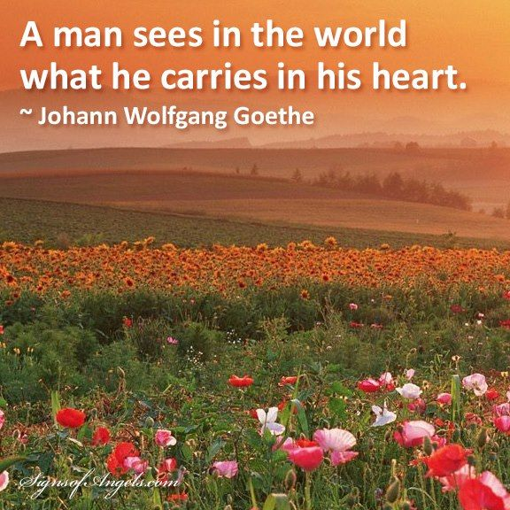 A man sees in the world what he carries in his heart. ~ Johann Wolfgang Goethe
