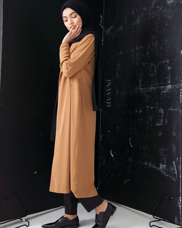 INAYAH | Transition through seasons effortlessly in our lightweight fall cover-ups available in timeless shades and unique materials. Tan #Belted #Midi #Coat + Black Crepe #Top + Black Straight Leg #Trousers + Black Rayon Blend Jersey #Hijab - to be restocked soon + Medium Nude Soft Cotton #Scrunchy www.inayah.co