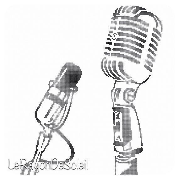 Cross stitch pattern vintage radio microphone on Etsy, 3,00€