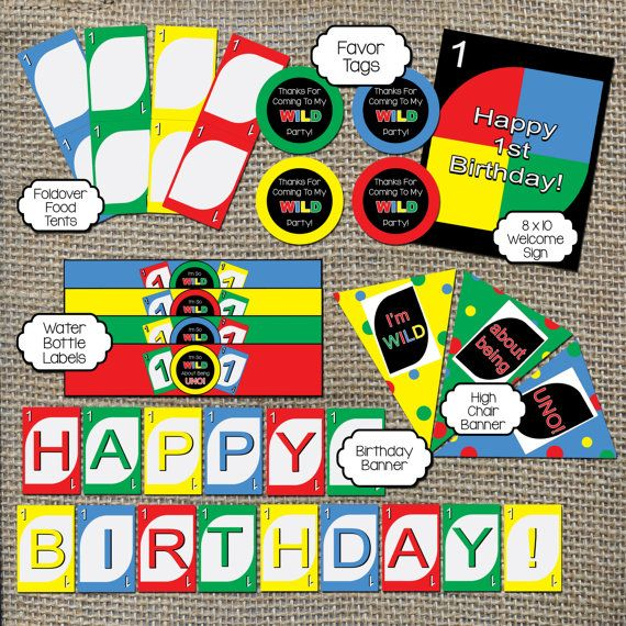 Complete Set of Uno Birthday Party Printables for Uno Theme! First Birthday Party Decoration Bundle by WorldOfThought