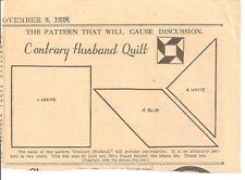 Contrary Husband Patchwork Original Newspaper Kansas City Star Quilt Pattern