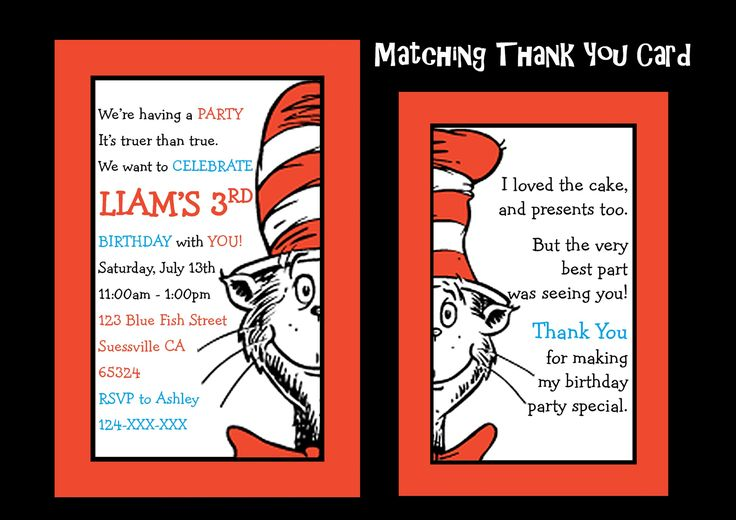 Dr Seuss Birthday Invitation, The Cat In The Hat Birthday, Cat in the Hat Party, Dr Suess Invite - Any Age - YOU PRINT - JPEG file only. by KleezPrints on Etsy