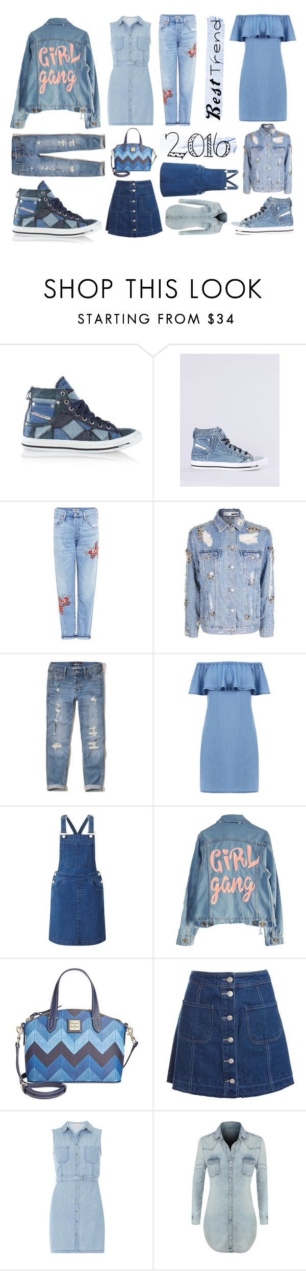 """denim rocks🤘🏻"" by leticiax ❤ liked on Polyvore featuring Diesel, Citizens of Humanity, Hollister Co., Warehouse, Miss Selfridge, High Heels Suicide, Dooney & Bourke, Sans Souci, Dorothy Perkins and LE3NO"