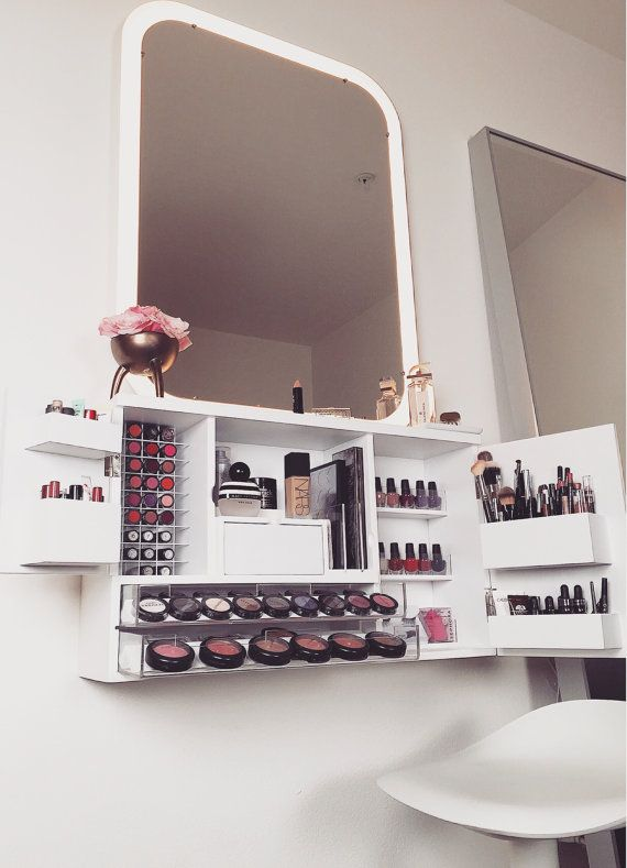 Im so excited to finally bring out this new makeup organizer that I designed to make your life that much easier! Its the ultimate makeup vanity solution when space is limited. This modern design fits all your daily needs in one place right at your fingertips. No more drawers with cluttered makeup and/or makeup bags to dig through. I personally dislike anything that covers with dust within a week because of the time it takes to clean each item that sits on your countertop. With this wall…