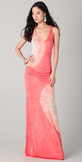 coral tie dye maxi dress
