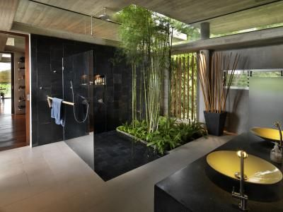 Recycled and local natural materials were used wherever possible in this bathroom