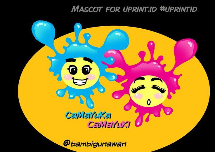 Ikutan bikin #mascotcompetition #mascotdesign #mascot untuk @uprint.id yang ini wajahnya depan-belakang, namanya #CaMaYuKa #CaMaYuKi idenya dari warna #cmyk seperti cipratan tinta. #karyamasbambi #uprintid #unyu2