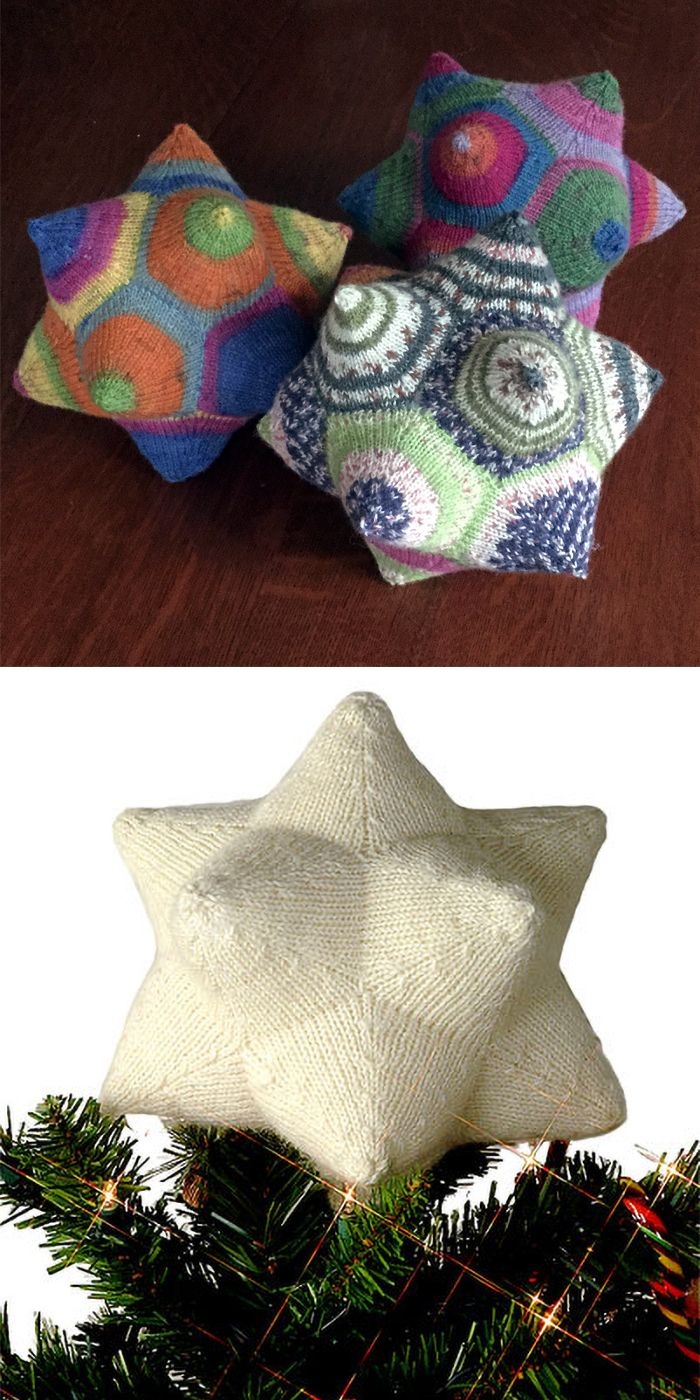 Free Knitting Pattern for Celestine Dodecahedron - A dodecahedron that can be used as a unique stuffed toy or holiday treetopper. Great stashbuster.Designed by Norah Gaughan. Versions for sport weight and fingering / sock weightPictured project by allincaps who had some notes There is also a video at Interweave.
