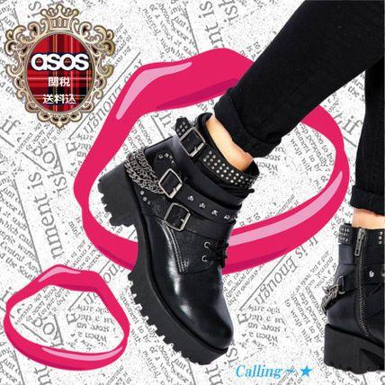 関・送込 セレブ愛用★ASOS★RULE OF THUMB Leather Ankle Boots チェーンやスタッズ、ベルトなどディテールを ぶれることないRockなデザインの仕上げになってます!マイリー・サイラスやファーン・コットンなどが愛用しています!