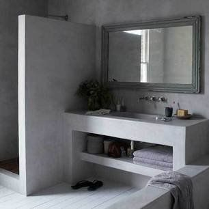 Concrete bathrooms with radiant heat