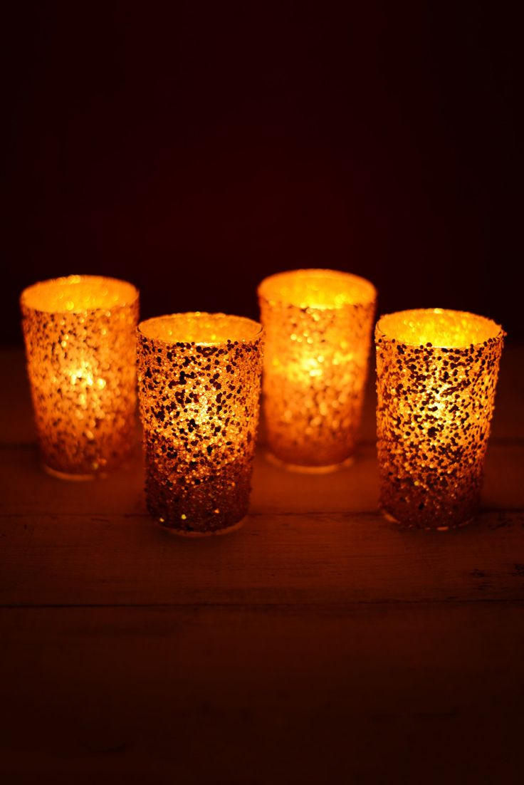 Gold wedding decorations; Gold votive candles; Gold Sequin Votive Holders 4 inch (Pack of 4); Wedding Centerpieces; Gold Candle Holders