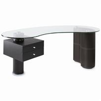 mateo desk - black or brown  product id 120-5683   $1198, now $998   Be the CEO of your own contemporary domain starting today. This modern black leather, wood and glass executive desk sets the tone with a mix of organic and angular shapes, generous proportions and high-performance function. With its kidney-shaped glass top, drawers to stash all of your important personal stuff and truly impressive size, it's the coolest ever. Coordinating stitching. Some assembly required.