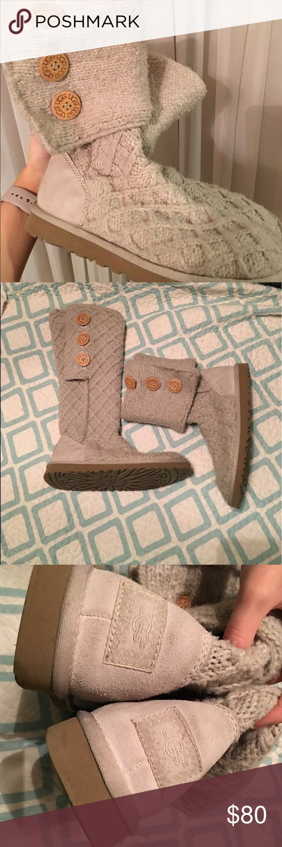 UGG Classic Cardy Winter Knit Boots These UGG Classic Cardy Winter Knit Boots can be worn long or short. The cloth and fur inside are in amazing condition. These were hardly worn! UGG Shoes Winter & Rain Boots