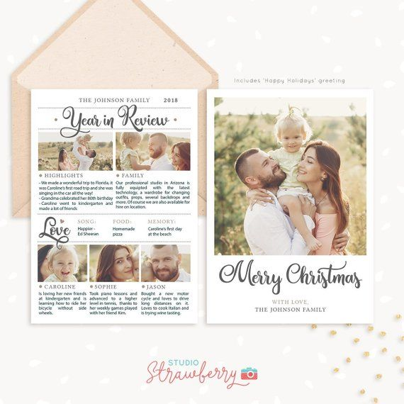 Year In Review Christmas Card Template 2019 Overview Year In Etsy Christmas Card Template Photoshop Christmas Card Template Family Christmas Cards